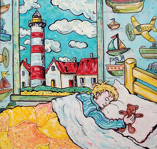 Boy sleeping. lighthouse. teddy bear.  kids art. kids. kids bedroom.
