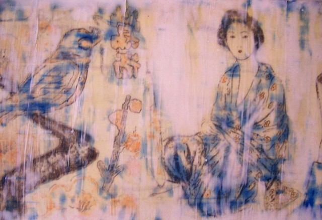 Detail of a panoramic shaped encaustic work showing Geisha,birds & blossom.