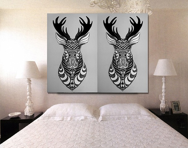 Custom Stags head double print on 300gsm cotton rag paper. Monochrome