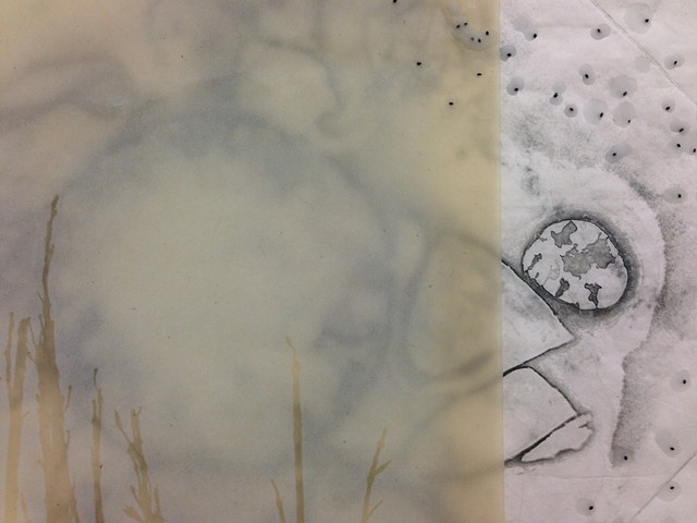 Detail of Etching with Basil Seeds and Wax