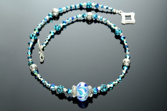 Dichroic Feathered Glass Lampwork Bead Necklace