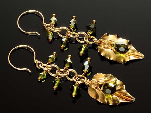 Olivine & Vermeil Leaf Earrings
