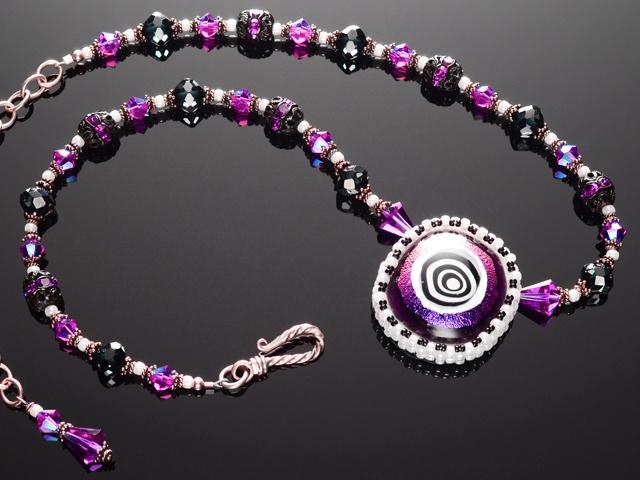 Magenta Hypnotic Eye Necklace