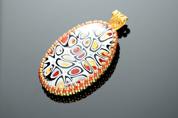 Chinese Red & Gold Ultra-Modern Fused Glass Pendant