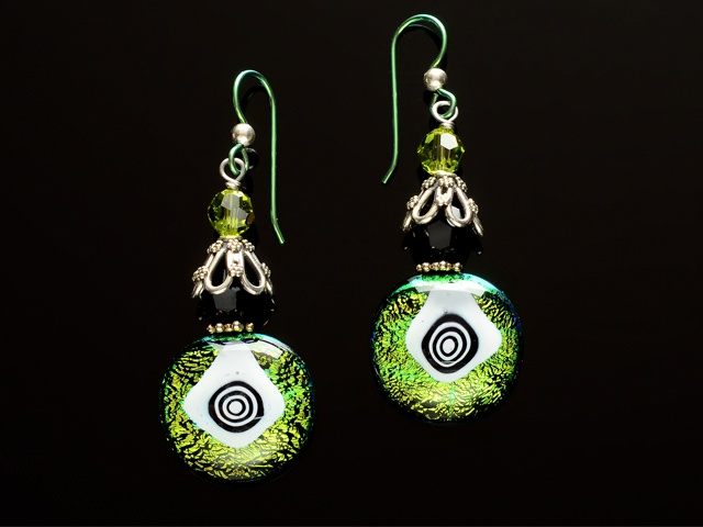 Olivine Geometric Eye Earrings