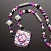 Pink & Cobalt Buttercup Flower Necklace