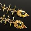 Olivine & Vermeil Leaf Earrings