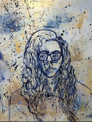 Age 19 Self-Portrait In Shades Of Blue & Ochre