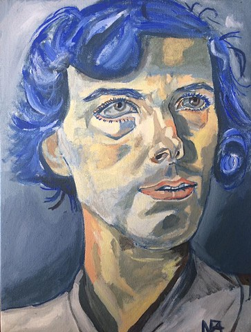Lucian Freud's Head Of A Woman Study In Cobalt
