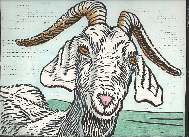 curious goat in relief block print with color added with colored pencil