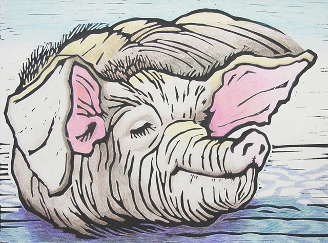 linoleum cut print of self-satisfied pig, with colored pencil