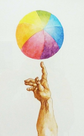 watercolor of beach ball with pointing finger derived from Michelangelo's Sistine Chapel
