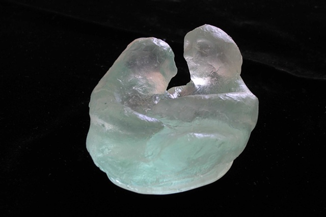 kiln-cast lead crystal, two tiny figures embracing