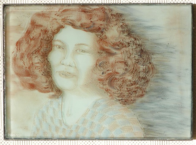 kiln-cast glass portrait with steel frame