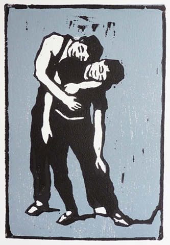 woodcut of two dancers leaning together