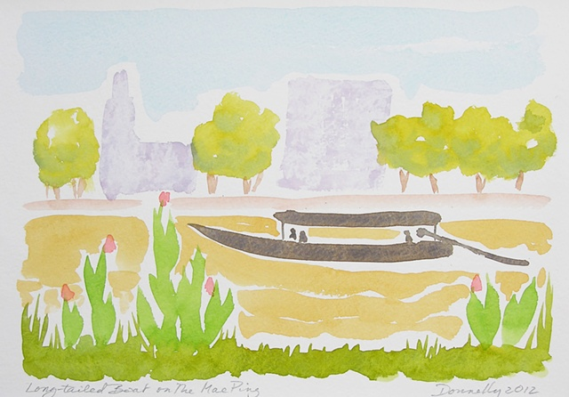 watercolor of a traditional boat on the Mae Ping River in Chiang Mai, Thailand