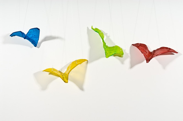Part of a series of kiln-formed glass birds