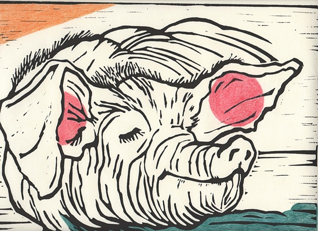 A Fine Pig, linocut print with colored pencil added