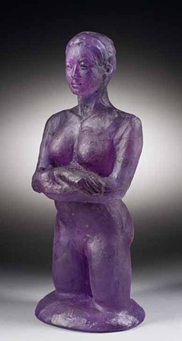 kiln cast transparent glass figure in Bullseye Neo-Lavender glass