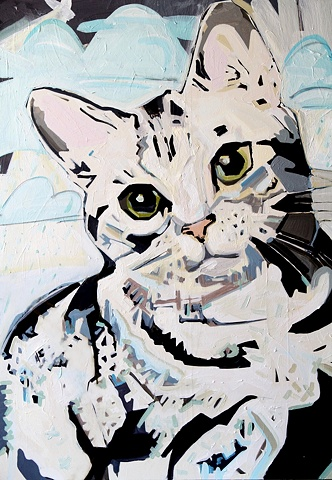 large cat vector painting