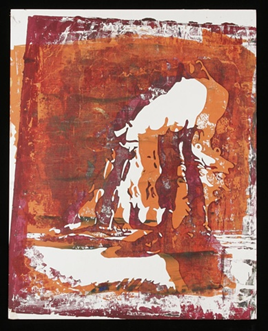 Pinhole Screenprint Red with Orange