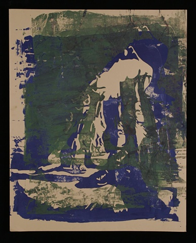 Pinhole Screenprint Green with Blue