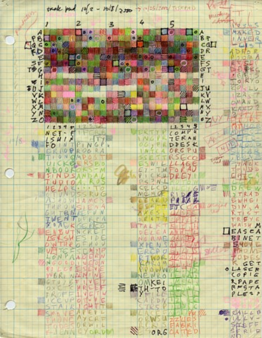 Colored pencil, marker, ink on graph paper. Text art.