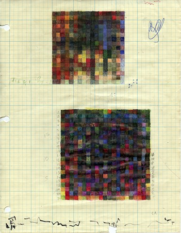 Colored pencil and graphite on graph paper, various algorithms and rules