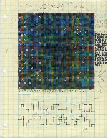 Colored pencil, graphite, ink on graph paper, various algorithms and rules