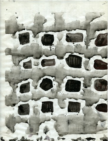 India ink wash on graph paper