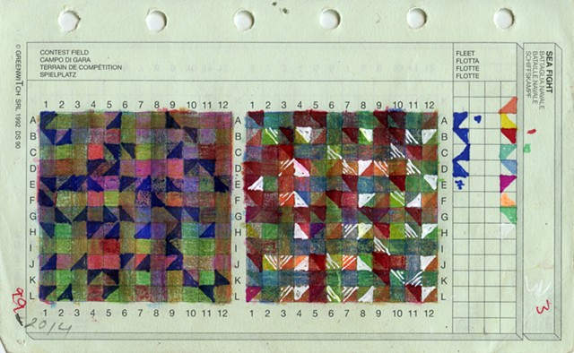Geometric abstract art on graph paper from date book