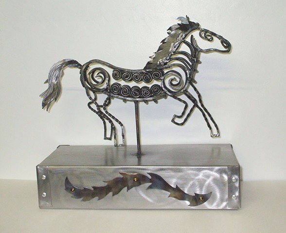 Horse sculpture, steel sculpture, forged steel animal sculpture