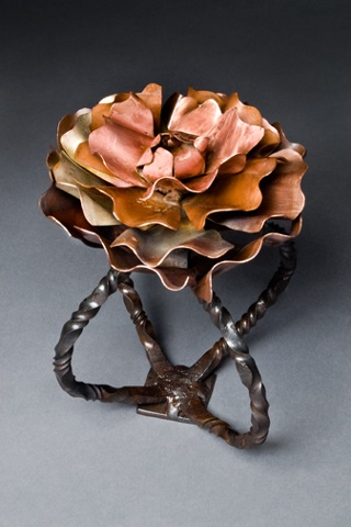 Metal flower sculpture