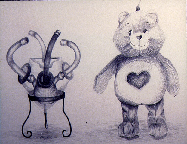 Pencil drawing of teddy bear