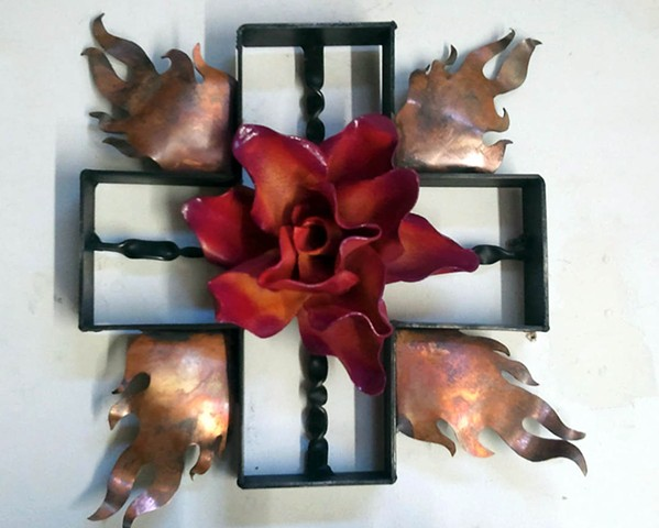 Forged steel sculpture of the 4 sacred directions, steel rose sculpture, sculpture with fire