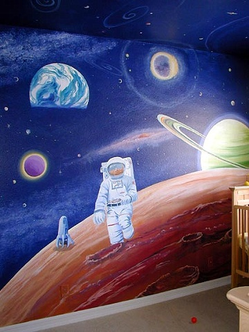 Nursery, Mural, ed pollick, las vegas, edward pollick, murals, artist, acrylic, painter, faux, children's, room, Orange county, Long Beach, Costa Mesa, Los Angeles, Santa Barbara, girls, boys, babies, baby's, bedroom, outer space, stars, planets, astronau