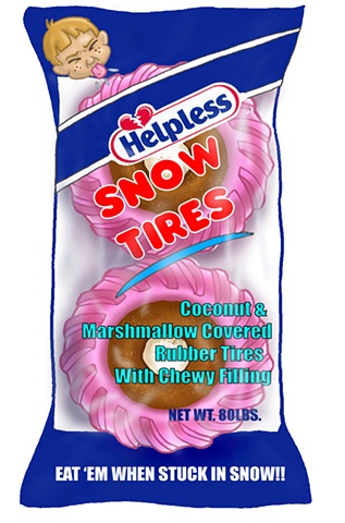 Hostess, snow balls, spoof, sno, tires, illustration, hostess spoof, hostess cartoon, cartoon, ed pollick, edward pollick, pollick, pollick art, pollick drawing, pollick cartoons, pollick artwork, pollick painting, pollock, best las vegas artists, best or