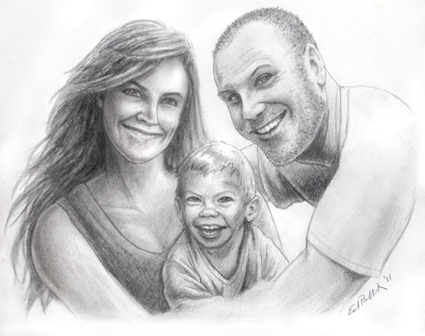 Charcoal pencil, ed pollick, edward pollick, portrait, family, baby, valentines, mother, father, mom, dad