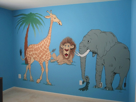 Animals, Nursery, Mural, cartoon, safari, lion, elephant, giraffe, ed pollick, las vegas, edward pollick, murals, artist, acrylic, painter, faux, childrens, room, Orange county, Long Beach, Costa Mesa, Los Angeles, Santa Barbara, girls, boys, baby's, babi