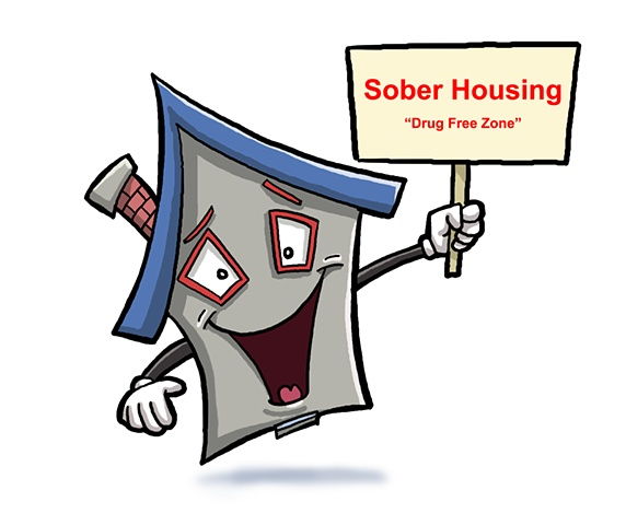 Sober Housing, logo, house, cartoon, ed pollick, shelter, orange county, ca
