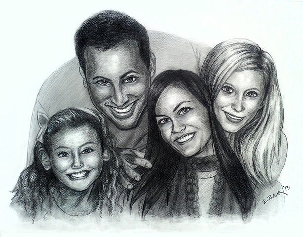 mike cummins, rachael cummins, kris look cummins, ashlee cummins, ed pollick, edward pollick, pollick, pollick art, pollick drawings, pollick paintings, pollick artwork, pollock, family portrait, pencil portrait, charcoal portraits, best las vegas artist,