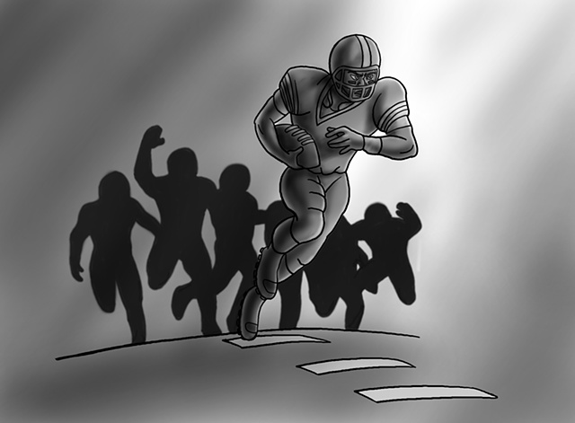 Football Charge, illustration, drawing, black and white, rush, rushing, sprint, field, arena, sports, action, ed pollick, edward pollick, pollick art, pollick drawing, pollick painting, pollock, pollick artwork, pollick artist, las vegas, vegas artists, b