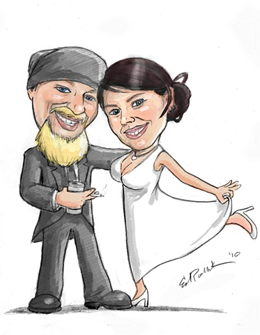 Pencil Caricature Drawing, ed pollick, edward pollick, pollick art, pollick drawing, pollick painting, pollock, pollick artwork, pollick artist, las vegas, vegas artists, best vegas artists, orange county artists, pollick poster, caricature logo, wedding