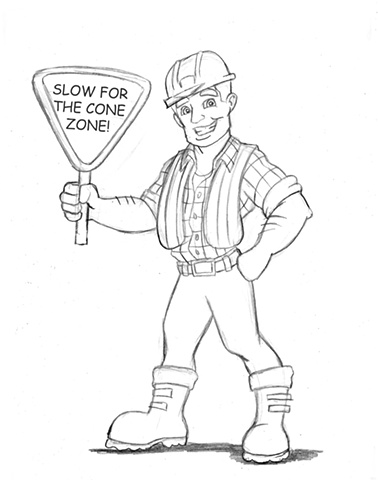 Construction Worker, cal trans, cartoon, drawing