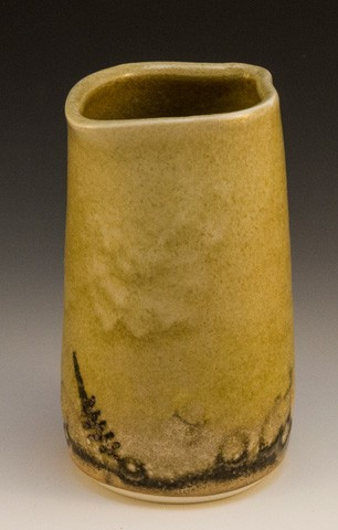 Vase Porcelain Shino Glaze with Leaf Imprint