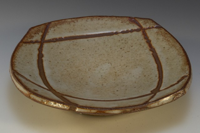 Square plate with shino glazes