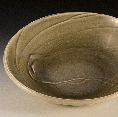 Porcelain bowl with Texture from slips, Free Clinic Dodgeville, WI