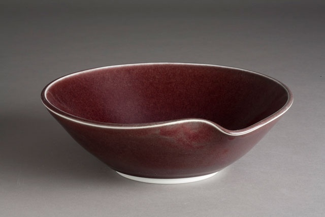 Ceramic Bowl, red, sculptured lip, Carol Naughton Ceramics