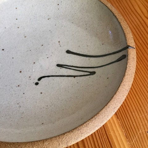 stoneware, shino glaze, plate, reduction fired, carol naughton ceramics