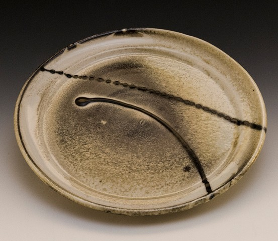 Porcelain plate with shino glaze, Carol Naughton Ceramics